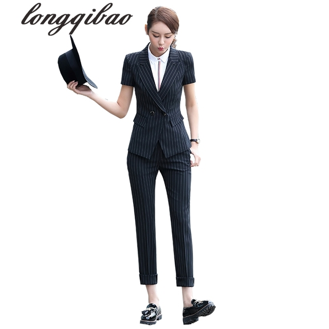 1b8a1259c854 Women summer Fashion Formal Suits Elegant Office Lady Career Work Wear  Casual 2 piece set Tops and Pants Plus Size Women Sets TB