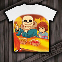 Game Undertale Sans And Papyrus Skeleton Brother Unisex Tops White T Shirt