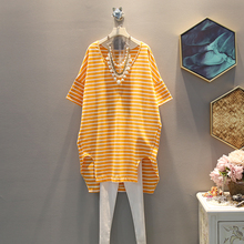 Summer Yellow Stripe Dress 2019 new Korean casual large size women V neck stripes loose short sleeved dresses