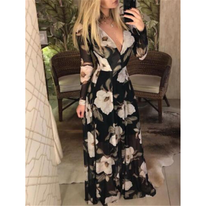 Women's Clothing Women Boho Long Dress Elegant Woman Vintage Floral Printdress Sexy Deep V-neck Beach Holiday Dresses Ladies Long Sleeve Dresses Demand Exceeding Supply