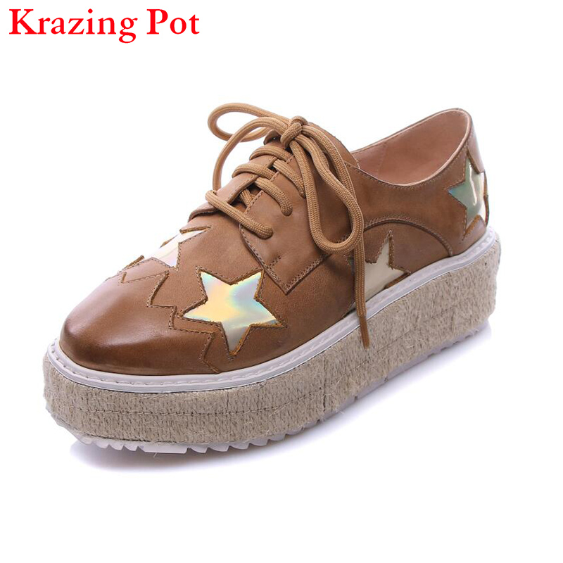2017 Genuine Leather Superstar Brand Shoes Star Increased Platform Flats Square Toe Classic Lace Up Woman Casual Oxfords Shoes L qmn women genuine leather platform flats women lace cut glossy leather square toe brogue shoes woman lace up leisure shoes 34 39