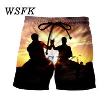 цена на WSFK New Hommes Punk Shorts Hawaii Plage 3d Imprimé Short décontracté Hip Hop Hommes Pantalons Courts D'été Mâle