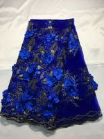 5 Yards/pc Most popular royal blue french net lace fabric with beads and flower decoration african mesh lace for dress QN62 2