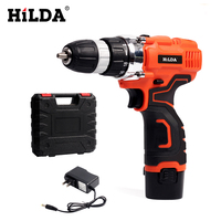 HILDA Electric Screwdriver Lithium Battery Electric Drill Furadeira Cordless Screwdriver Power Tools With Plastic Case