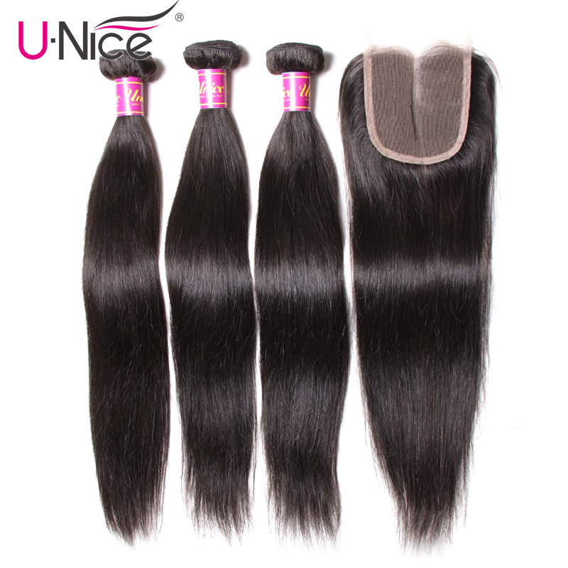 UNice Hair Icenu Remy Hair Series Lace Closure 4 PCS Peruvian Straight Hair 3 Bundles With Closure Swiss Lace Human Hair Weave(China)