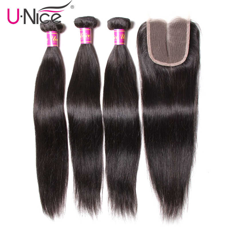 UNice Hair Icenu Remy Hair Series Lace Closure 4/5PCS Peruvian Straight Hair 3 Bundles With Closure Swiss Lace Human Hair Weave