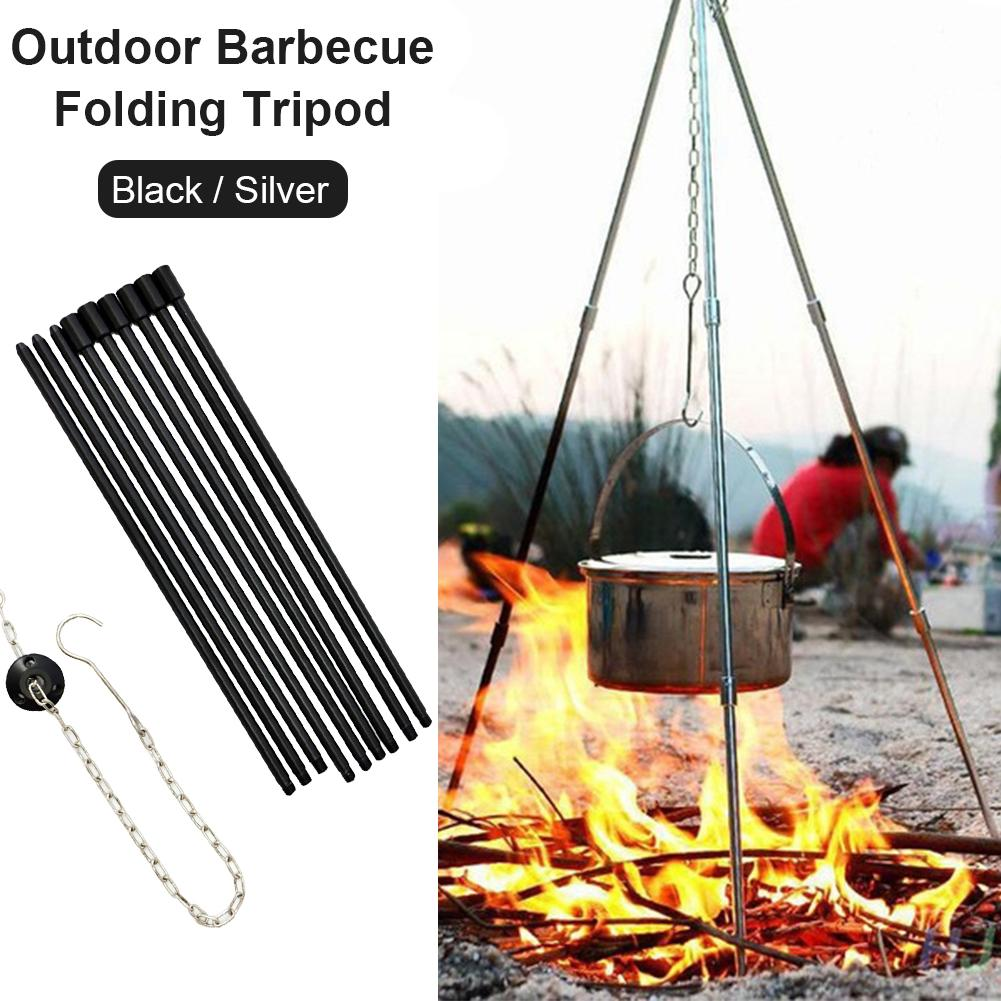 Outdoor Camping Tripod Portable Cooking Campfire Pot ew Holder n Durable P3I9