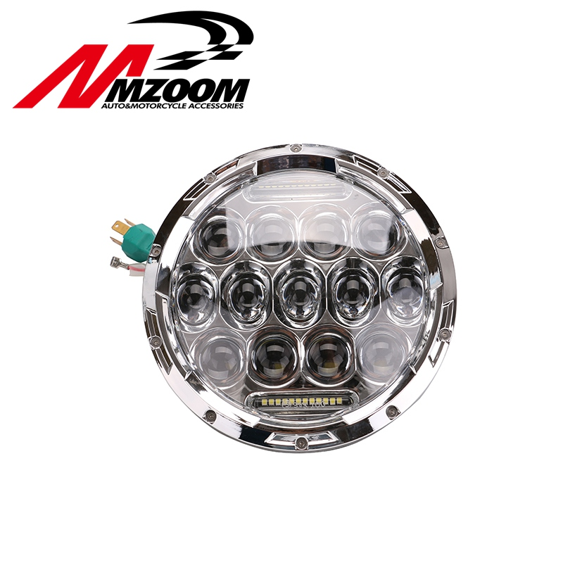 FREE SHIPPING New 7 Projector Daymaker Round 75W 7500LM Hi/Low Beam Motorcycle LED Headlight Bulb DRL free shipping 7inch round headlight 75w h4 motorcycle round led headlamp daymaker hi low beam head light bulb drl for offroad