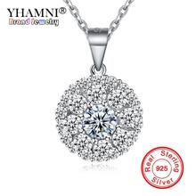 Купить с кэшбэком YHAMNI Fashion Dazzling Zircon Pendant Necklace 100% Original 925 Sterling Silver Wedding Jewelry For Women Gift YXL10