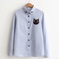Cat Embroidery Striped Women Blouses 2017 Long Sleeve Button Up Cat Head Patchwork Women Tops Peter