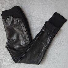 בתוספת גודל 4XL מסמרות תפרים עור מפוצל חותלות נשים בתוספת קטיפה צועד מכנסי עיפרון אופנוע גבוהה מותן חותלות C3930