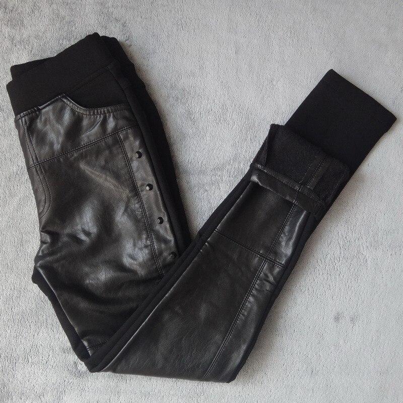 Plus Size 4XL Rivets Stitching PU Leather   Leggings   Women Plus Velvet   Legging   Pencil Pants Motorcycle High Waist   Leggings   C3930