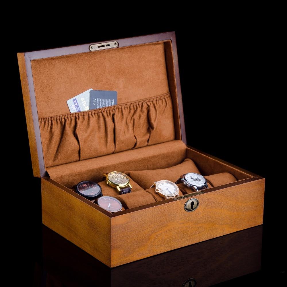 European Wood Watch Box With Lock New Mens Wooden Watch Storage Case Brown Brand Watch Display