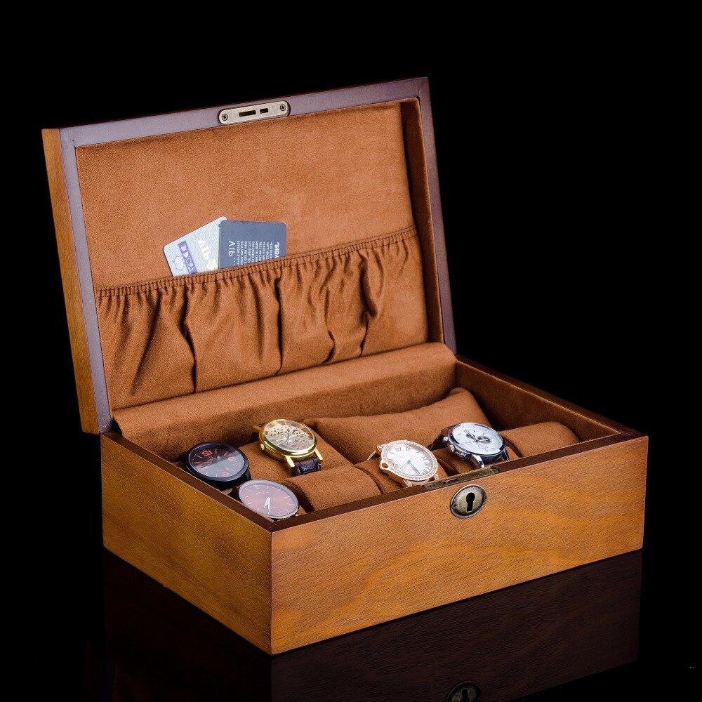 Caja de reloj de madera europea con cerradura nuevo reloj de madera para hombre caja de almacenamiento de reloj de marca marrón cajas de exhibición de joyería caja de regalo w058-in Cajas de relojes from Relojes de pulsera    1