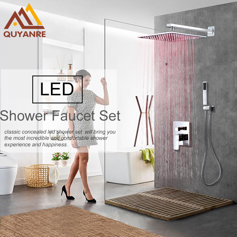 Quyanre Concealed LED Shower Faucets Set Wall Mounted Rainfall Shower Head Handheld Shower Mixer Tap Bath&Shower Faucets quyanre antique brass shower faucets set 8 rainfall shower head commodity shelf handle mixer tap swivel tub spout bath shower