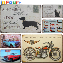 [Dog]Shbby Chic Vintage Metal Signs Home Decor Vintage Tin Signs Pub Vintage Decorative Plates Metal Wall Art