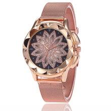 Luxury Female Quartz Watch Fashion Casual Women Rose Gold Flower Rhinestone Wrist Watches Relogio Feminino Lady