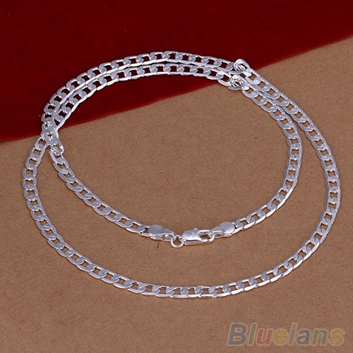 Women's Men's Silver Plated 4MM Cute Pendant Necklace Chain Fashion Jewelry 4CUB