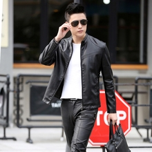 Men Slim PU Leather Jackets Stand Collar Long Sleeve Autumn Coats For Men Male Leather Jackets Solid Casual Brand Men Clothing