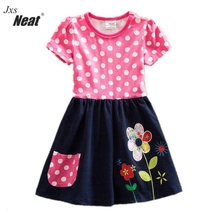 NEAT New baby girl clothes college style girls dresses embroidered wave points stripe bow kids clothes short sleeve dress S66303 neat wholesale new baby girl clothes college style lovely girls dresses kids clothes long sleeve dress cartoon elephant sg006