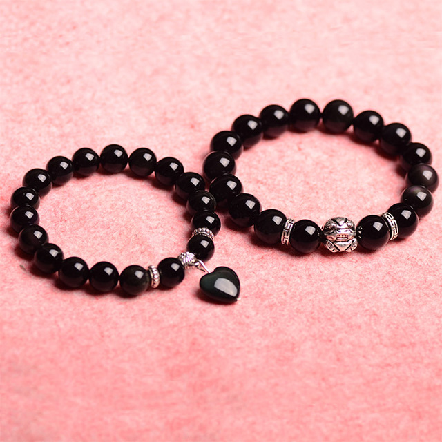2016Trendy Natural Cystal Bracelets Obsidian and Brave Bracelet Bring fortune for Men and Women Jewelry Great Gift Free Shipping