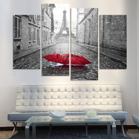 Fashion Pairs Street Beautiful Red Umbrella Modern Art Wall Painting Printed On Canvas Pictures For Living