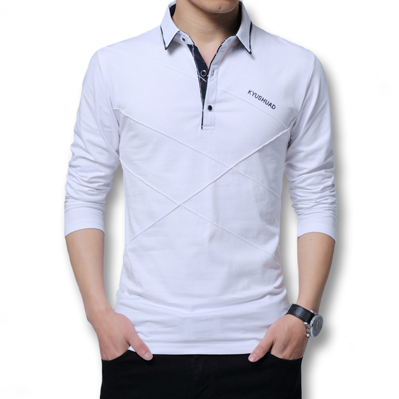 2018 Men Large Size M 5XL Spring Autumn Long Sleeved Polo Shirts Male Casual Fashion Slim Fitted Dress Polo Shirts Men in Polo from Men 39 s Clothing