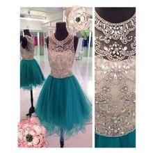 2016 Hot Slae Light Green Prom Kleid Mit Kristall Und bördelndes Kurzes Organza Abendkleid Party Kleid Benutzerdefinierte Vestido De Noche