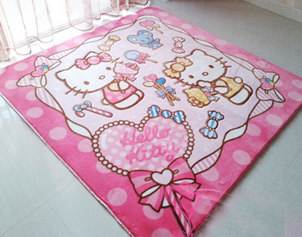 185cm*185cm House Decorative Rug Baby Room Mat Childrenu0027s Hello Kitty Large  Carpet Party Coral