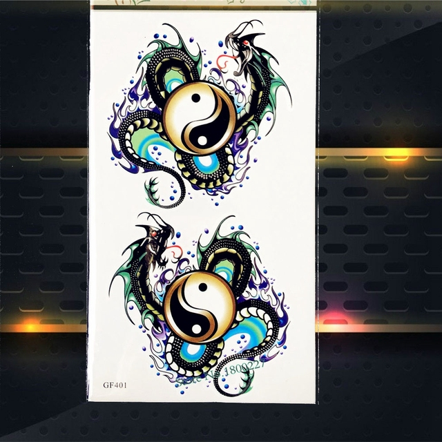 Taiji Yinyang Tatouage Temporaire Dragon Etanche Faux Flash Tatouage