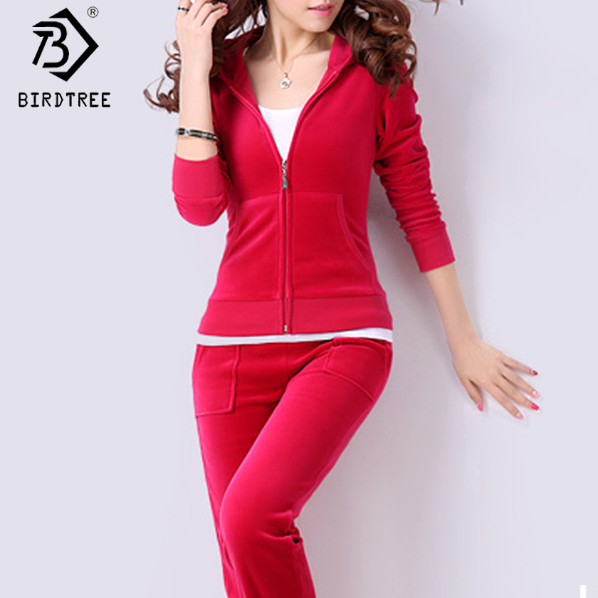 Velvet Tracksuits 2 Piece Set Women Suit Long Sleeve Solid Color Hoodie + Elastic Waist Pant Slim Sporting Suits Hot Sale S79001
