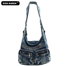 KISS KAREN Fashion Luxury Diamonds Rivet Denim Women Bag Womens Tote Bag Women's Shoulder bags Jeans Casual Totes Crossbody Bags kiss karen floral lace women messenger bag vintage fashion studded denim bag women s shoulder bags summer jeans crossbody bags
