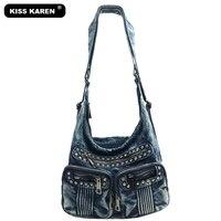 KISS KAREN Fashion Luxury Diamonds Rivet Denim Women Bag Womens Tote Bag Women S Shoulder Bags