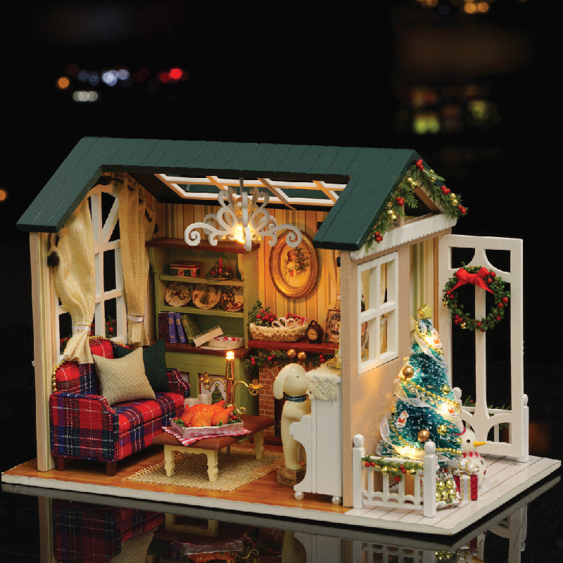 LED Light Miniature Furniture Doll House Dollhouse DIY Kit Wooden House Puzzles Model Toy for Kids Birthday Christmas Gifts (11)