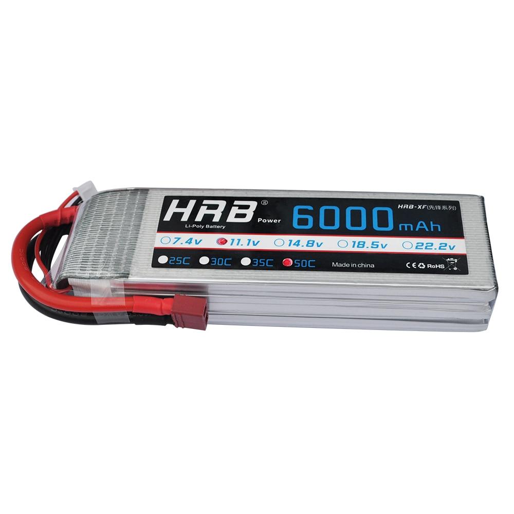 HRB Lipo batería 11,1 V 6000mAh 50C XT60 XT90 Deans T EC5 mujer AKKU Batteria para aeromodelismo Trex 500 piezas de helicóptero coche barco RC-in Partes y accesorios from Juguetes y pasatiempos    1