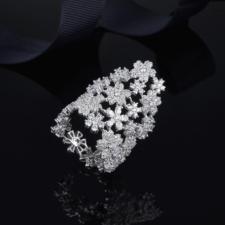 Célèbre Monaco marque pleine de fleurs de cristal bague pour les femmes 925 en argent sterling Mirco Zircon fiançailles bague de mariage bijoux
