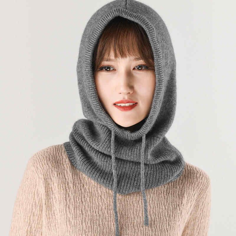 2019 女性の冬の多機能ニットカシミヤウール Skullies 帽子襟セットビーニー帽子女性フード付きイヤーマフスカーフキャップ