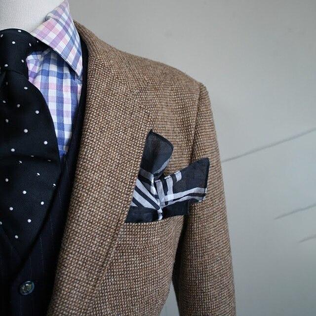 Brown Nailhead Mens Tweed Jacket Men Custom Made Causal Blazer,Tailor Made Tweed Men Suit Jacket  Veste Homme Costume Luxe