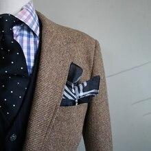 Kahverengi tırnak erkek Tweed ceket erkekler özel yapılmış rahat Blazer, tailor Made Tweed erkek takım elbise ceket Veste Homme kostüm Luxe
