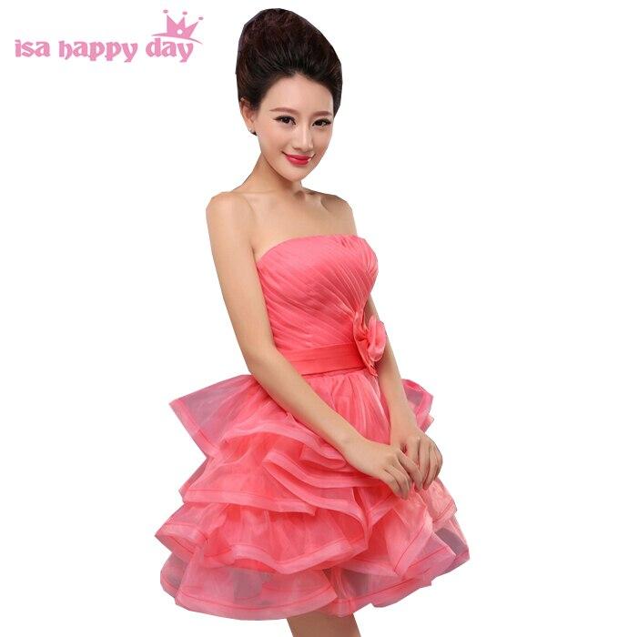 Nouveau été 2019 multi couleur bridsmaid robe de soirée courte rouge sans manches lilas robes de demoiselle d'honneur corail pour les juniors B2806