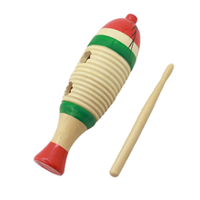Wooden Fish-Shaped Guiro Colorful Hand Percussion for Kids Baby Children Musical Toys Training Child Hearing