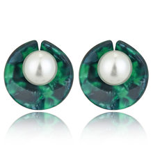 Pearl Resin Stud Earrings for Women Round Acrylic Earring Simple Lady Elegant Vintage Jewelry Bohemian Green Gray MB014(China)