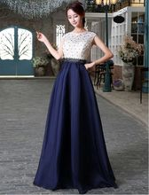 White And Navy Long font b Evening b font Gown Lace Top Chiffon Skirt Cap Sleeve
