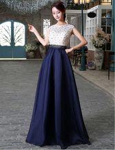 Weiß Und Marineblau Lange Abendkleid Spitze Top Chiffon Rock Kappe A-linie Kleid Lange Party Perle Günstige Formale Kleid Für hochzeit
