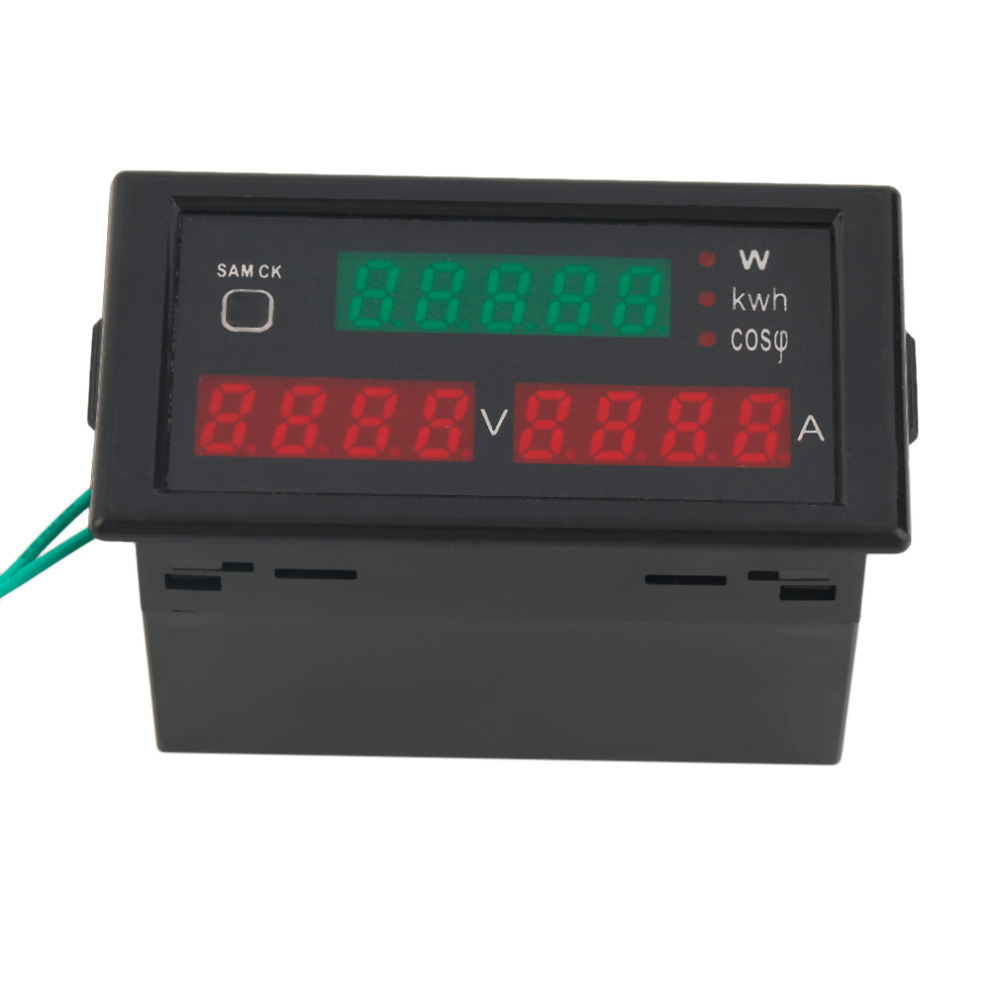 High QAC80-300V 100A Digital LED Current Voltage Tester Meter Electric Energy Power Factor Detection with CT