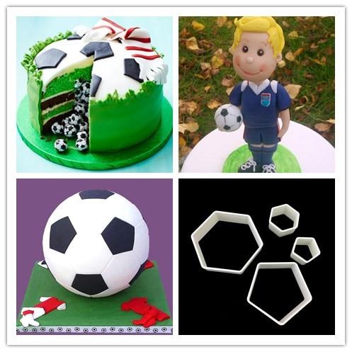Cake Mold 5 football cutter Plastic Fondant tools embosser press Mould for cake baking Decorating Mold Cupcake DIY