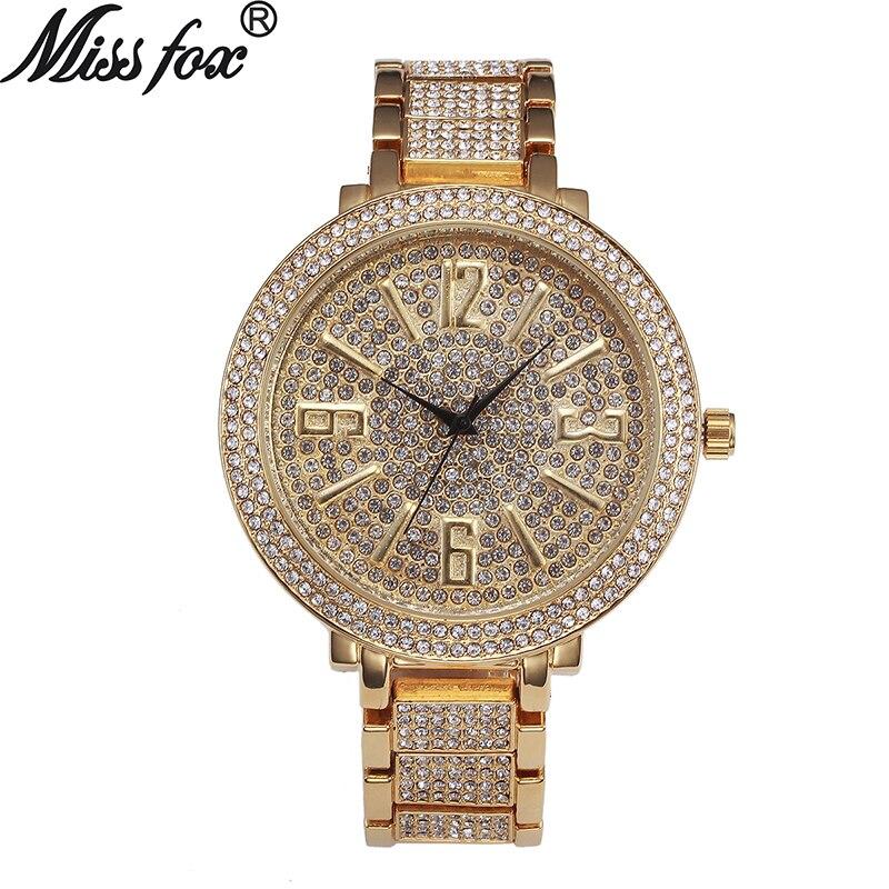 e90476cc3978 Relojes de cara grande Miss Fox para mujer a la moda movimiento de cuarzo  japonés reloj de diamante completo femenino gran Dial árabe Numeral Relojes