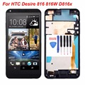 For HTC Desire 816 816W D816x lcd display touch screen with digitizer + Bezel frame full assembly , black free shipping !!!