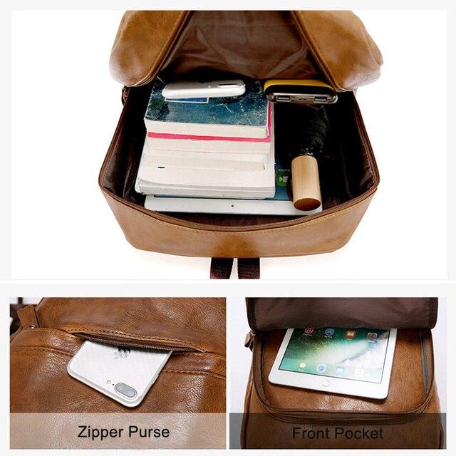 Fashion Men Backpack Waterproof PU Leather Travel Bag Man Large Capacity Teenager Male Mochila Laptop Backpacks 2