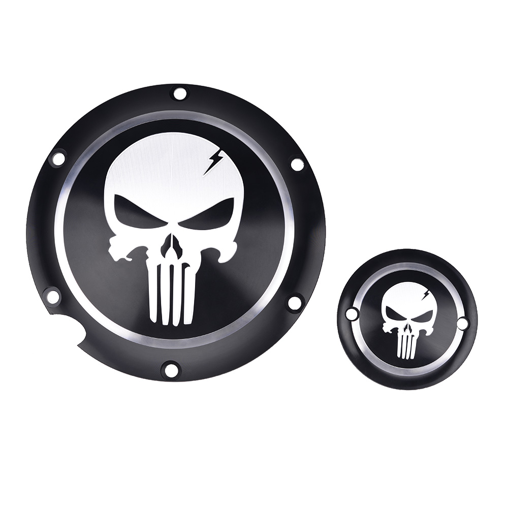 Motorcycle Black Skull Derby Timer Cover Clutch Timing Cover For Harley Davidson Sportster Iron XL 883 1200 72 48 2004-2017 aftermarket free shipping motorcycle parts for harley davidson xl1200c sportster 883 derby flame timing timer cover black